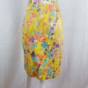 J. CREW WATER Color Floral Yellow The Pencil Skirt